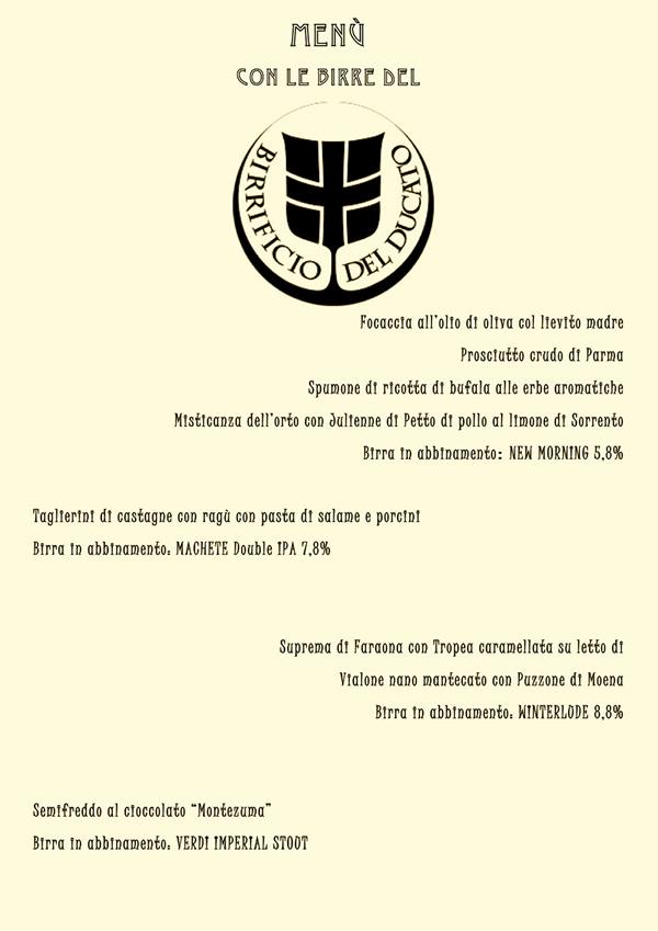 Menu birra del ducato